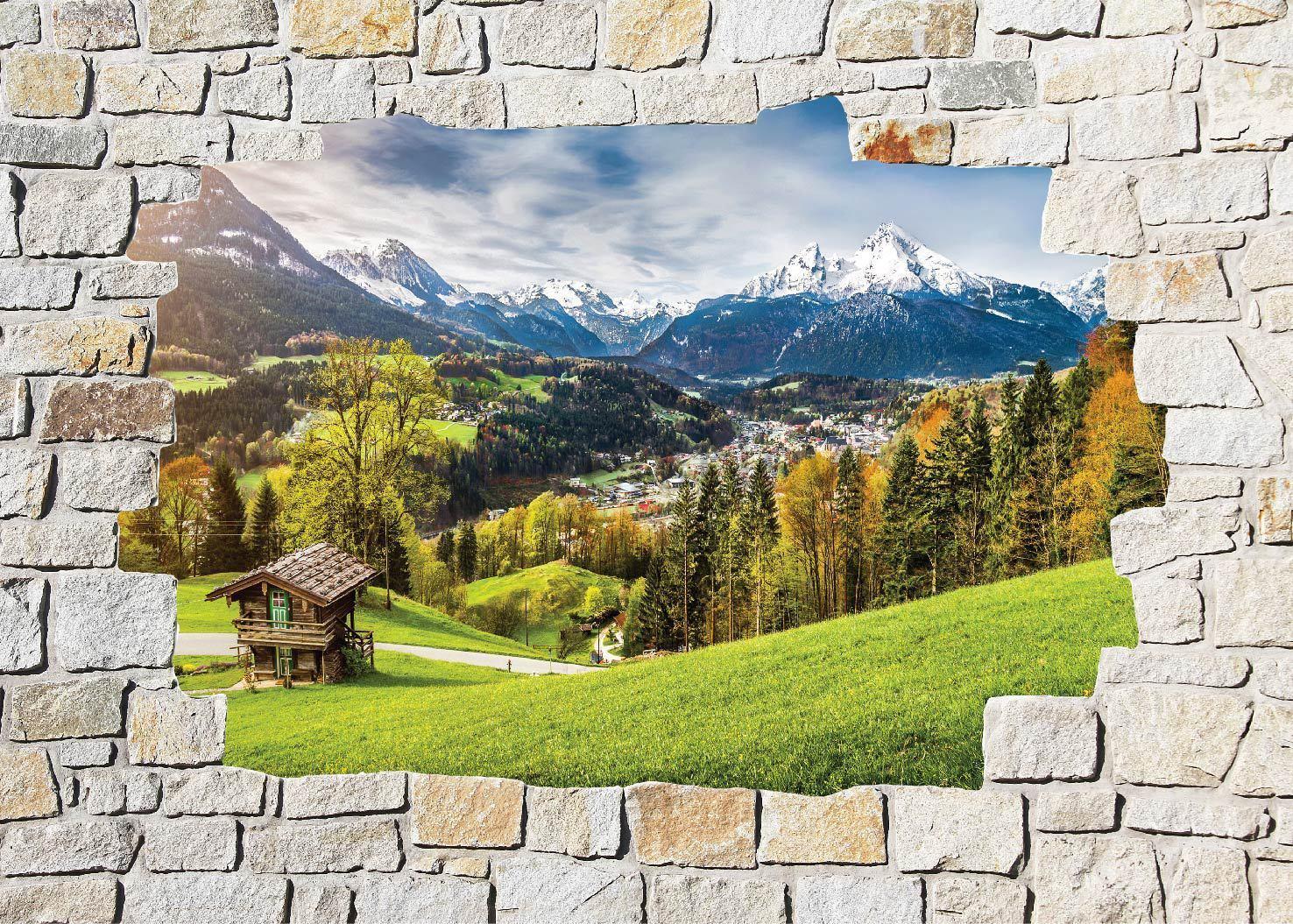Aufkleber Wand Schein Auge Berg Ref 8529