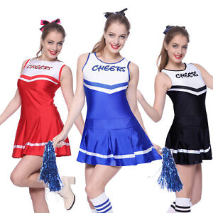 Cheerleader-Fancy-Dress-Outfit-High-School-Uniform-Musical-Costume-w-Pompoms