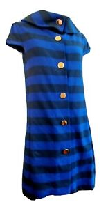 Kate Spade Womens Striped Knit Short Sleeved Button Down Dress Cowl Neck Size 4