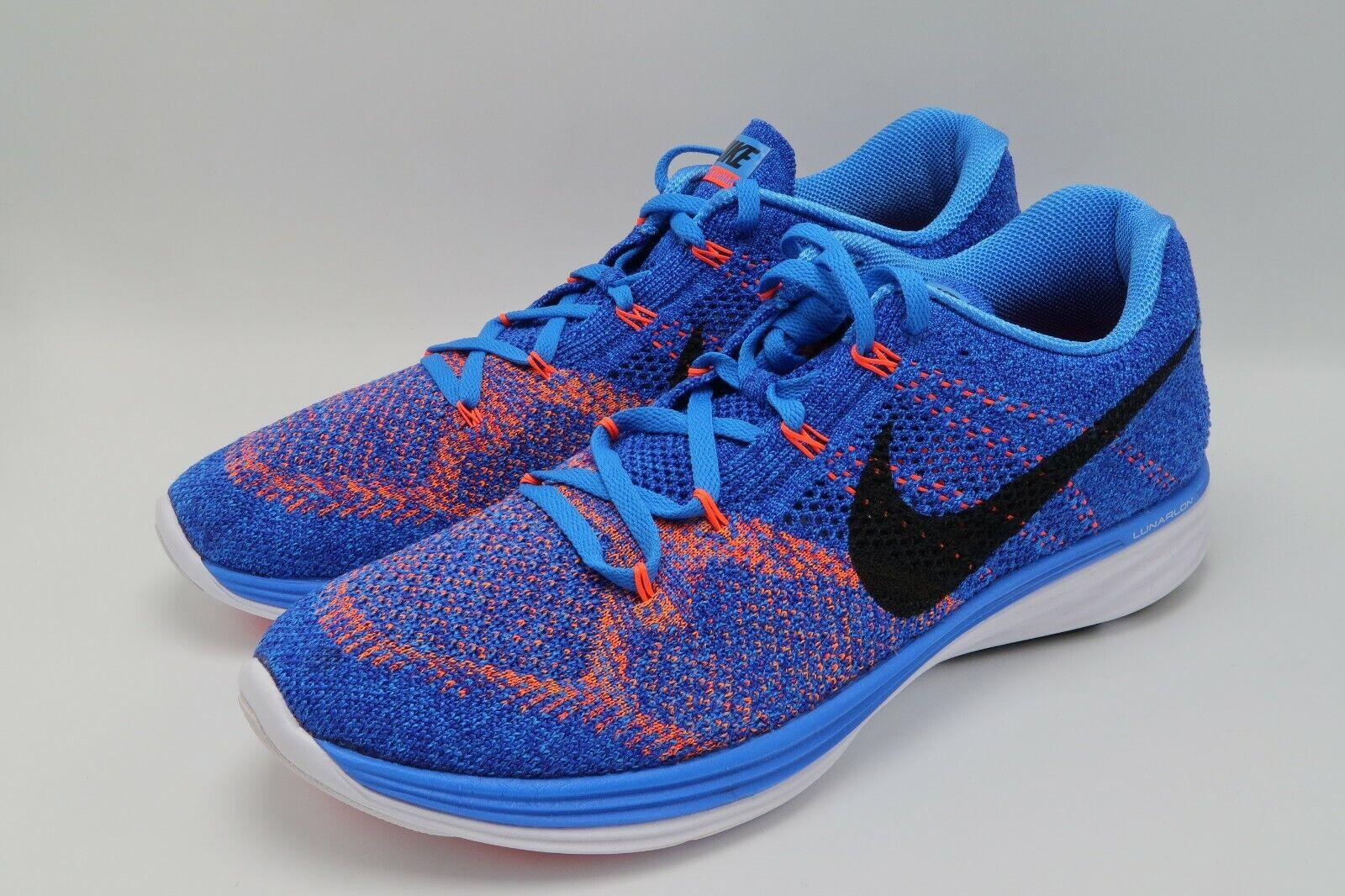 online store f87e9 a58a6 Nike Flyknit Lunar 3 blueee blueee blueee 698181-405 Size 11 new 2bfef0
