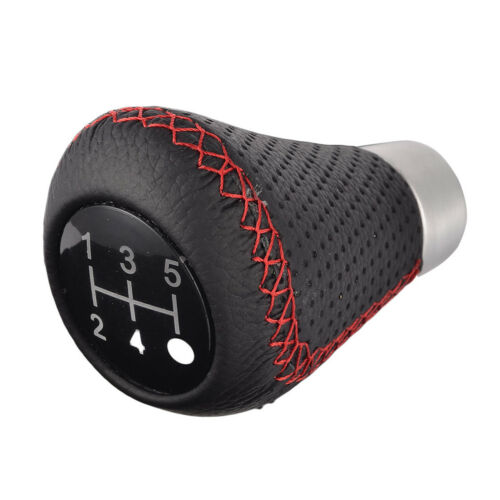 5 Speed Black/&Red Line Leather Aluminum Manual Car Gear Shift Knob Shifter Lever