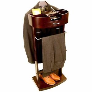 Details about Men\u0027s Suit Valet Stand Clothes Storage Shoe Organizer Drawers  Charger Outlet
