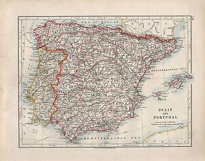 1909 Victorian Map Spain Portugal Balearic Isles Ebay