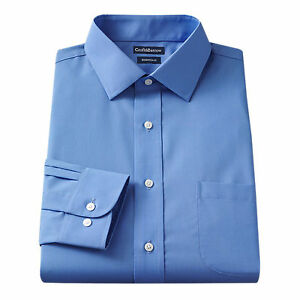 New Men Croft/&Barrow Fitted Easy-Care Spread-Collar Blue Stripe Dress Shirt $45
