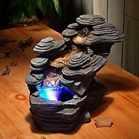 Indoor Waterfall Feature Home Decoration Fountain River Led Gift Light Stone