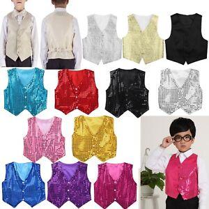 Boys Girls Cool Sequined Vest Waistcoat Hip-hop Dance Party Show Costume Props