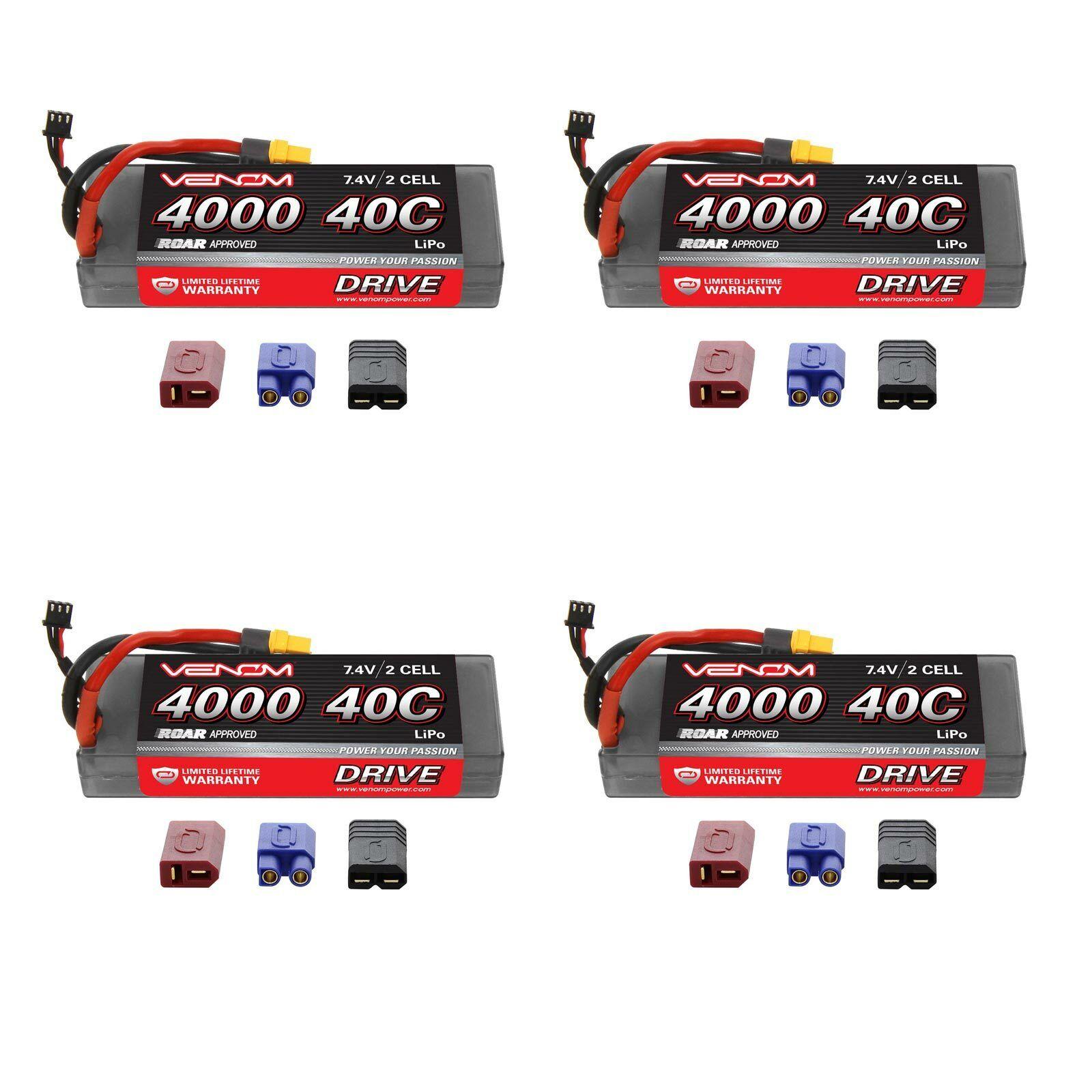 Venom Sport potencia 40C 2S 4000mAh 7.4V Batería Lipo rugido con paquetes de Enchufe x4 Uni