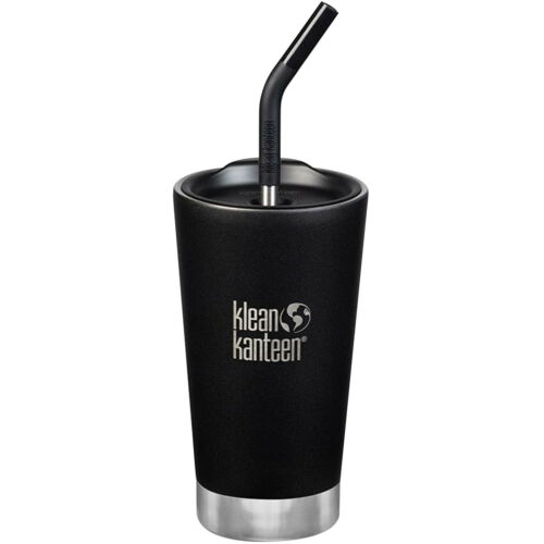 Insulated Stainless Steel Tumbler with Straw Lid and Straw Klean Kanteen 16 oz