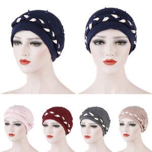 Muslim-Women-Braid-Turban-Chemo-Cap-Beads-Beanie-Scarf-Headscarf-Wrap-Bonnet-Hat