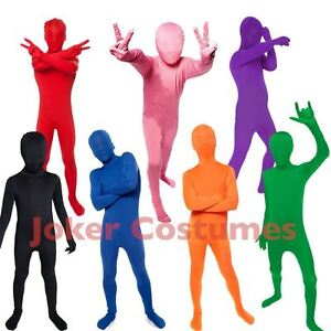 SALE-Kids-Morphsuit-Costume-Plain-Colour-Great-For-Fancy-Dress-Party-amp-Halloween