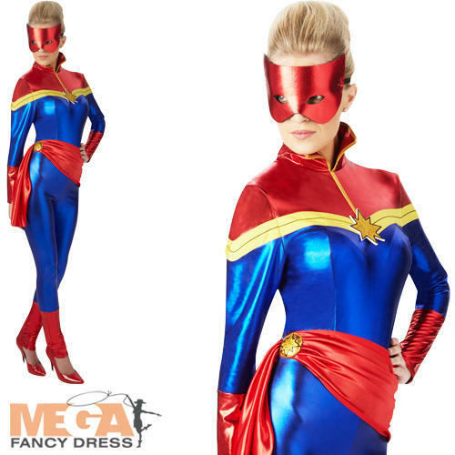 Captain Marvel Ladies Fancy Dress Book Day Comic Adults Superhero Costume Outfit