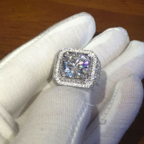 White Gold Iced Out BAND HipHop Engagement MICROPAVE CZ Pinky Men Women Ring HOT