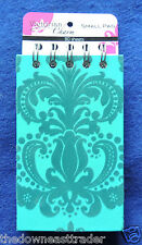 "Victorian Charm Small Spiral Note Pad 80 Sheets 3"" x 5"" Fancy Teal Felt Design"