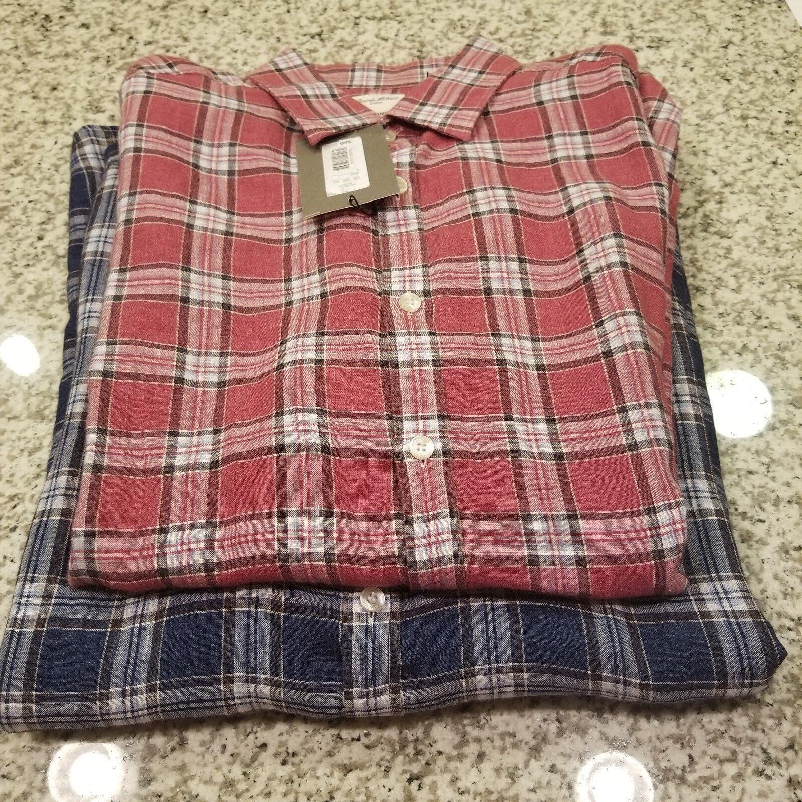 Men's MURANO Baird McNutt Linen Long Sleeve Shirt M L XL Barry bluee