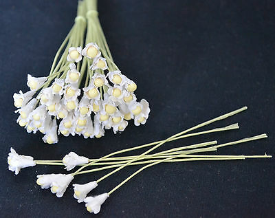 100 WHITE GYPSOPHILA WITH BEAD CENTRE miniature Mulberry Paper Flowers wedding
