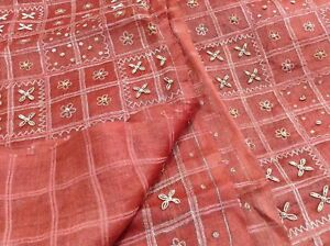 Women's Clothing Om Vintage Indian Sari 100% Silk Zardozi Work Brown Saree Fabric Y11921 Soft And Light Other Women's Clothing
