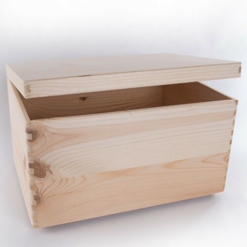 Plain Wood Large Wooden Storage Boxes Box with Lid Crate Trunk Containers