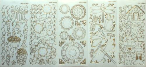 STITCHED EFFECT Clear Transparent /& Gold Peel Off Sticker Sheet For Card Making