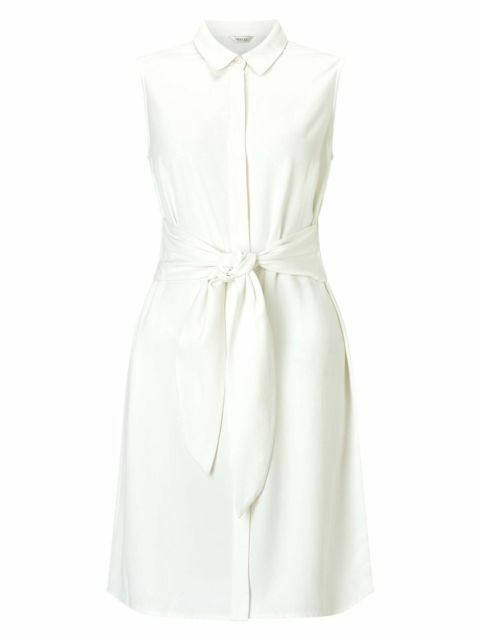 Precis Petite Melody Tie Waist Dress Ivory Größe 10 LS081 OO 13
