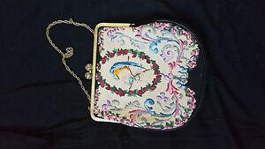 Vintage-petit-point-Handtasche-Gobelin-Abendtasche-Top-Zustand-Bestickt-1950