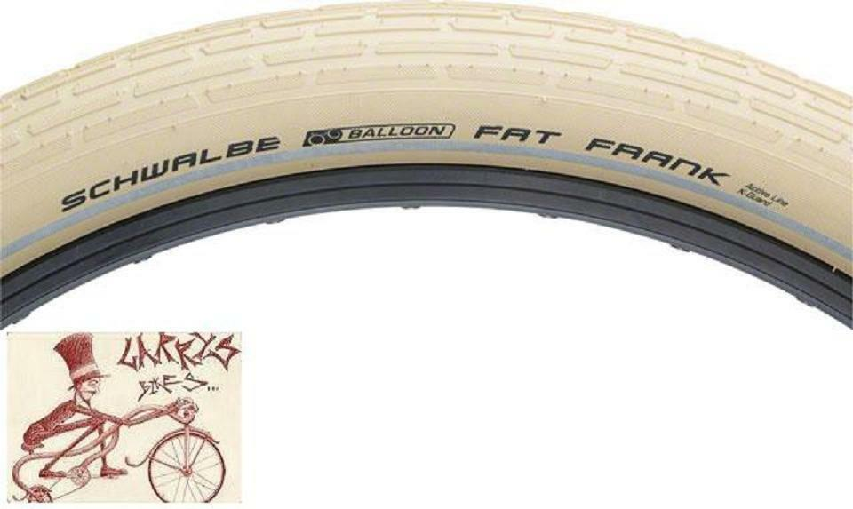 Schwalbe Fat Frank Tire 26x2.35 Wire Bead Creme with Reflective Sidewalls and