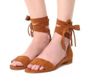 826ba3961397 Stuart Weitzman Corbata Flat Sandals Boho Ankle Wrap Suede Leather ...