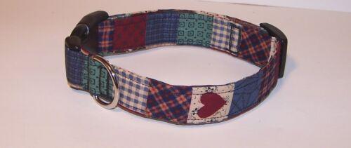 Wet Nose Designs Country Charm Heart Quilt Blocks Dog Collar Blue Green Burgundy