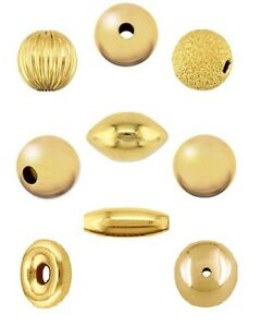 Image Is Loading 9ct Gold Beads REAL Yellow Spacer
