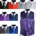 Men's Suit Tuxedo Dress Vest Necktie Bow Tie Handkerchief Set RL
