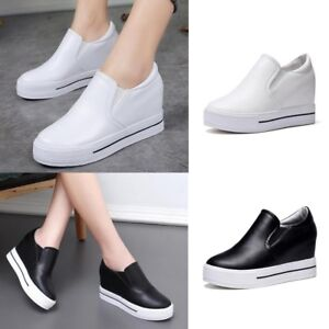 Women-Platform-Hidden-Wedge-Loafers-Sneakers-Slip-On-High-Heels-Casual-Shoes