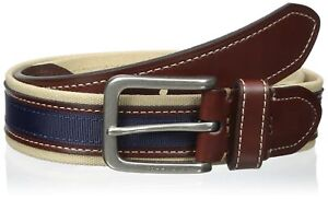 Tommy-Hilfiger-Men-039-s-Canvas-Leather-Casual-Belt-Khaki-Brown-Navy