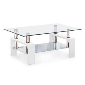 DESIGNER Glass Rectangular Coffee Table Shelf Chrome Wood Living Room  Furniture White