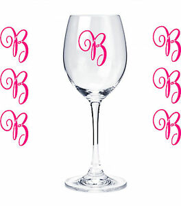 Pc Set Monogram Initials Sticker Vinyl Decals Glasses Wine - Vinyl decals for drinking glasses