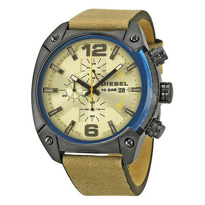 Diesel Overflow Chronograph Taupe Dial Leather Mens Watch DZ4356