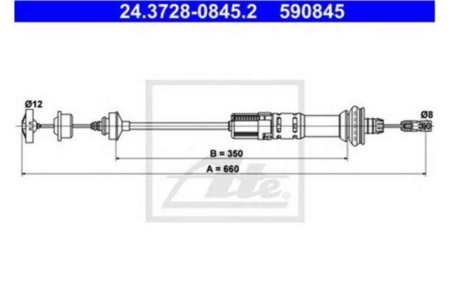ATE Cable de accionamiento, accionamiento del embrague PEUGEOT 24.3728-0845.2