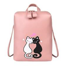 Cute Cat Printed Backpack Womens Girls Zipper PU Leather Shoulder Bag  Rucksack 287cf575dece4