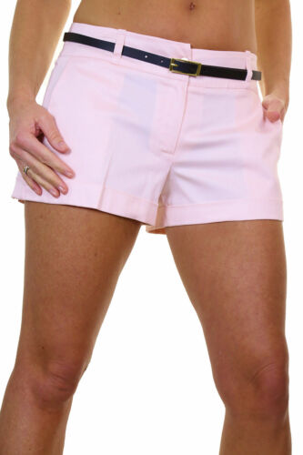 Ladies Cotton Sateen Hotpants Shorts Free Belt Powder Pink 8-16 1219-9