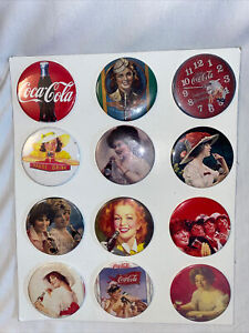 """Coca Cola Vintage Reproduction 2.5"""" Button Pins Full Sheet of 12"""