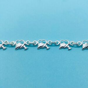 Genuine 925 Sterling Silver 7.5 Inch Dolphin Through Heart Linked Bracelet