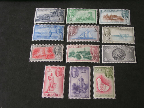 BARBADOS, SCOTT # 216-227(12), COMPLETE SET 1950 KGV1 DEFINITIVE ISSUE MVLH