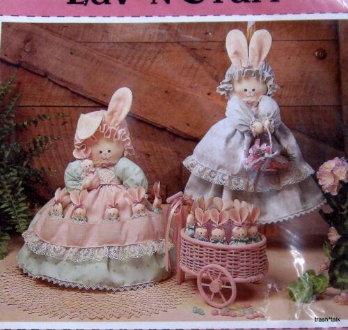 Luv /'n Stuff Easter Bunny Mom /& Baby rabbit pattern Jar Broom Cover basket