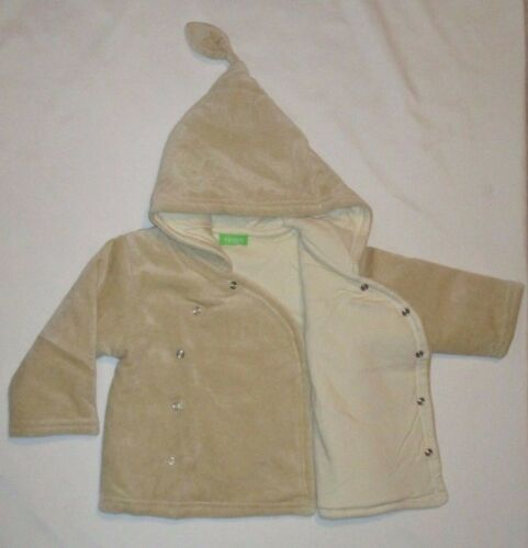18-24m and 24-36m Tingo Organic Tan With Olive Green Tint Hooded Coat