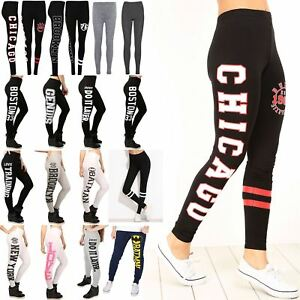Womens-Ladies-Chicago-Brooklyn-76-Stripes-Workout-Gym-Running-Slim-Fit-Leggings