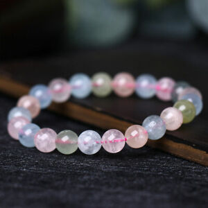 1* Natural Morganite Quartz Crystal Stretch Round Bead Bracelet Healing Gemstone
