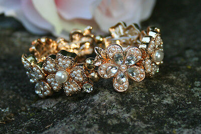 Gold Color Lovely Luster Engagement & Wedding Prom.wedding Bracelet With Pearls And Stones