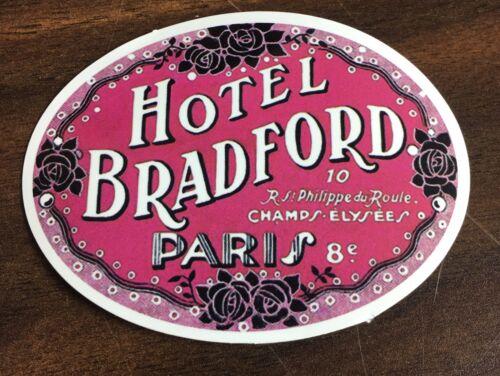 Retro Vtg Style Hotel Bradford Paris Champs Elysees Travel luggage Decal sticker