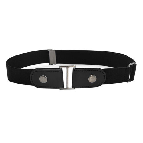 Leather No Buckle Belt Women Mens Buckle Free Belt Stretchy for Jeans Pants