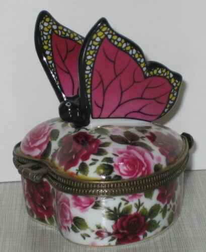 Deckeldose Herz-Dose Schmuckdose mit Schmetterling rosa-rote Rosendekor 6-8cm
