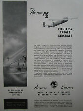 9/1953 PUB ML AVIATION PILOTLESS TARGET AIRCRAFT CIBLE DRONE RPV ORIGINAL AD