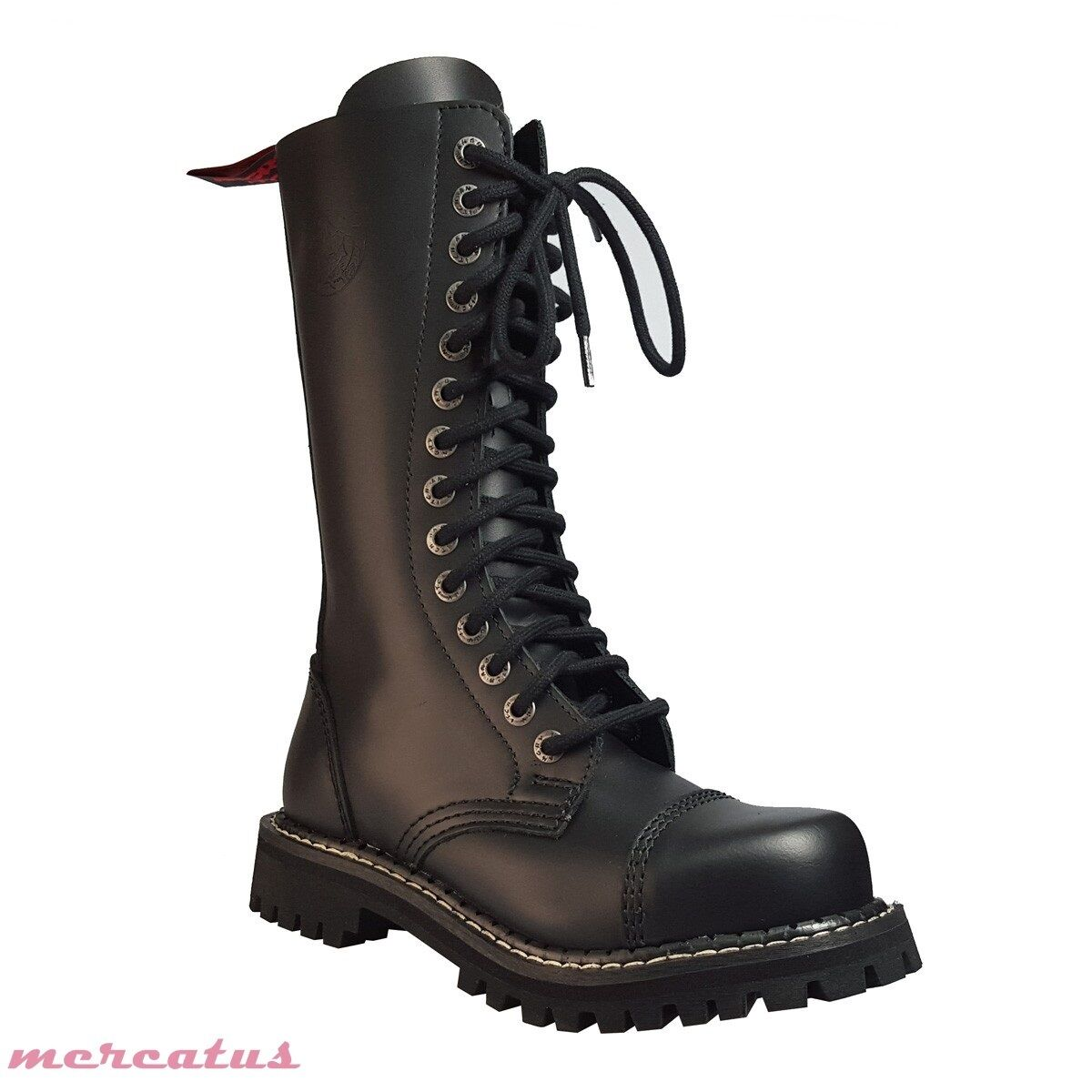ANGRY ITCH - 14-Loch Gothic Punk Army Ranger Ranger Ranger Armee Leder Stiefel mit Stahlkappe 95a811